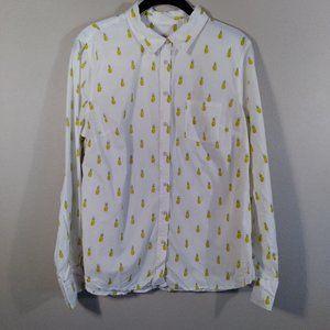 Merona Pineapple Print Cotton Button Shirt Sz L
